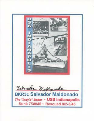 USS INDIANAPOLIS SURVIVOR ~ ONE of ONLY 317 ~ Sal Maldonado ~ BKR3c SignedCard