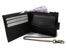 MENS NEW BLACK LEATHER WALLET WITH CHAIN CREDIT CARD HOLDER COIN POUCH PURSE