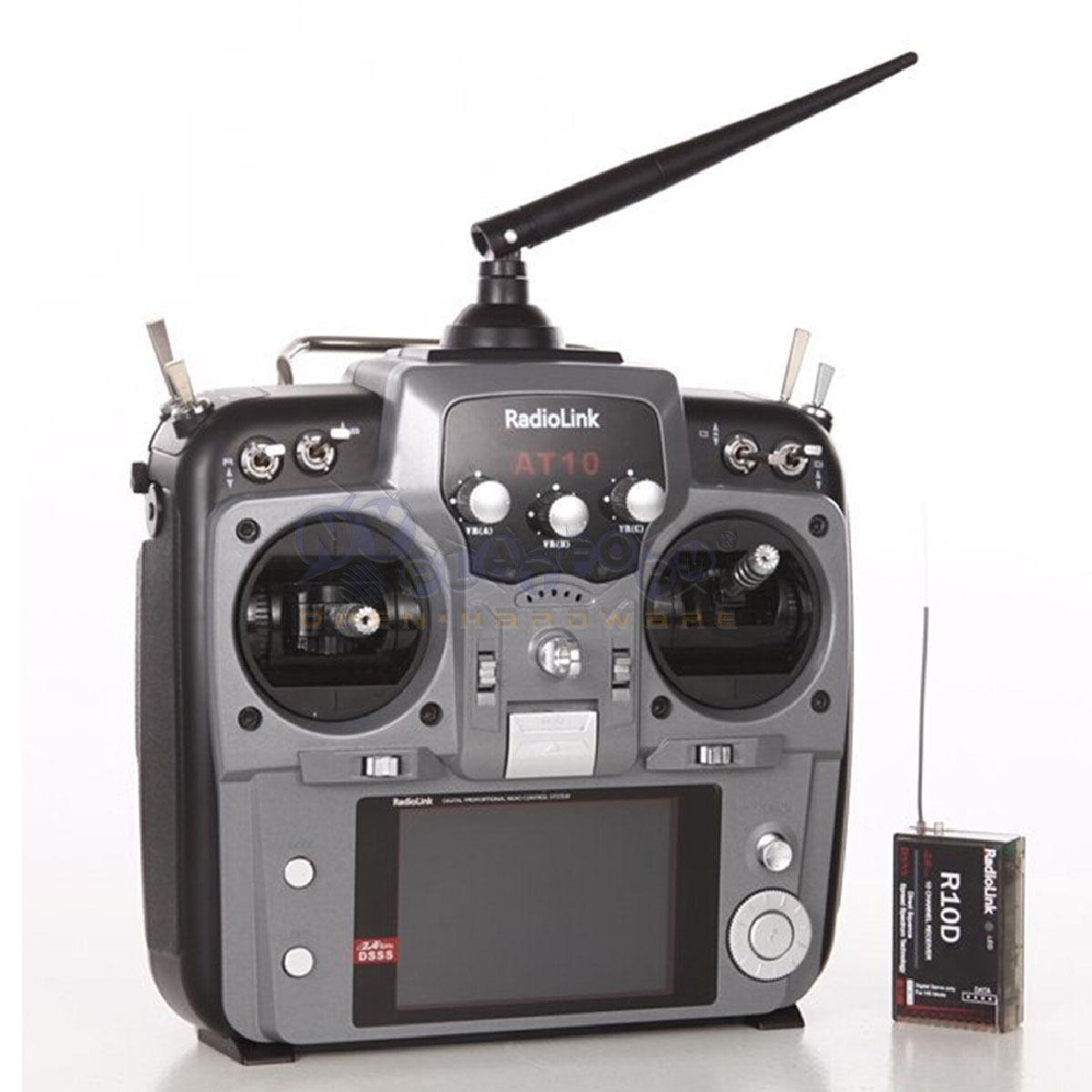 Nuevo RadioLink AT10 10CH gris modo 2 con R10D receptor transmisor de radio y PRM-01