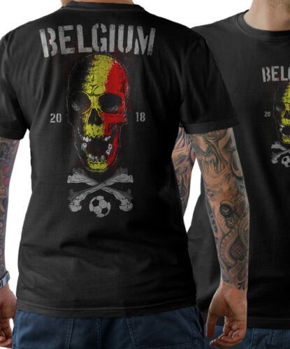 T-shirt homme BELGIUM skull tete de mort coupe du monde 2018 FOOTBALL BELGIQUE World Cup s-5xl