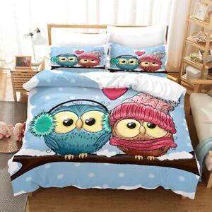 Cute Owls Flower Adult Kids Bedding Duvet Quilt Cover Set Queen Single Double