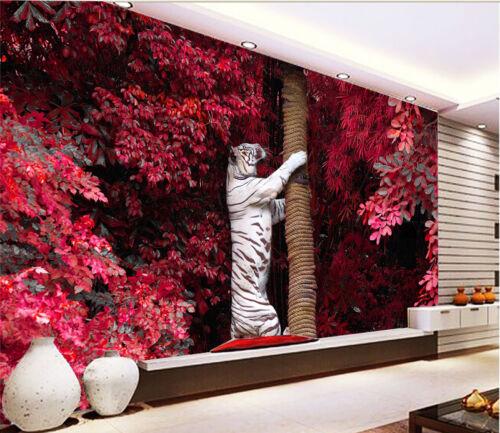 3D Tiger Climb Tree 9 Wall Paper Wall Print Decal Wall Deco Indoor AJ Wall Paper