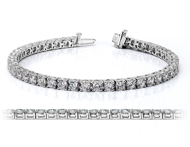 6.30 CT ROUND CUT NATURAL REAL DIAMOND TENNIS BRACELET 14K WHITE gold 7  Inch