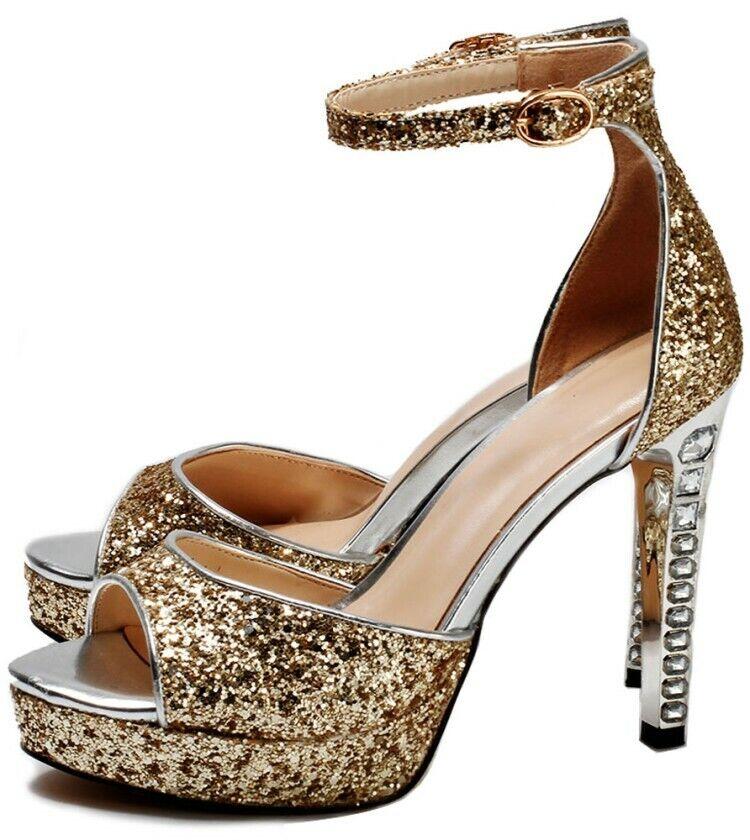 Femme talon bottier haut Party Bridal Glitter Plateforme Sandales Mariage Bal chaussures