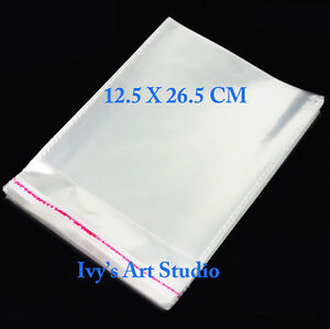 100 X DLX Cellophane Cello Clear Plastic Bags 125 x 265mm Resealable w/ Air Hole