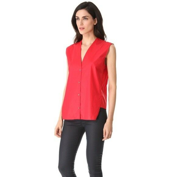 Helmut Lang rot Cotton Asymmetrical Hem Sleeveless Button-down Top Größe L
