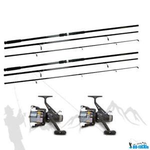 Karpfen-Set-Angelset-2-Ruten-3-60m-120g-2-Freilauf-Rollen-Schnur-Karpfenruten