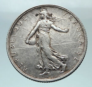1919-FRANCE-Antique-Silver-2-Francs-French-Coin-w-La-Semeuse-Sower-Woman-i81221