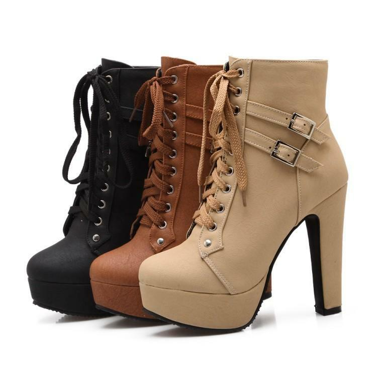 New Women's Lace Up Ankle Boots Buckle Round Toe High Heels Pumps Platform shoes