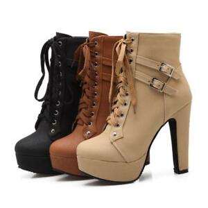 Womens-Round-Toe-Buckle-High-Heels-Pumps-Platform-Lace-Up-Ankle-Boots-Shoes-New