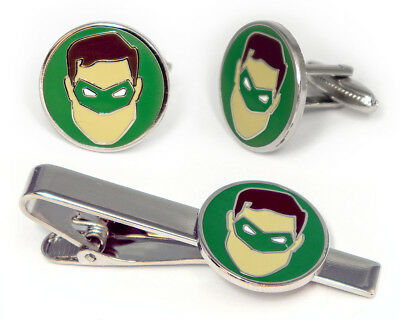 wedding boyfriend husbend groomsmen gift Green Lantern set cufflinks and tie clip superhero super hero heroes cufflinks tie clip tie bar