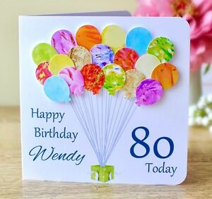 Image Is Loading Personalised 80th Birthday Card Handmade Age 80