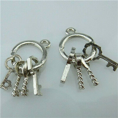13711 30PCS Dull Silver Alloy Mini Keychain Key Ring Charms Jewelry Making