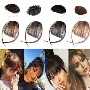 Womens-Thin-Neat-Air-Bangs-Human-Hair-Extensions-Clip-In-Fringe-Front-Hairpiece