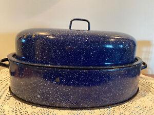 Vintage-Blue-Speckled-Graniteware-Enamel-Metal-Oval-Large-Hollow-Bottom-Roaster