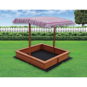 KIDS-WOODEN-TOY-SANDPIT-WITH-ADJUSTABLE-CANOPY