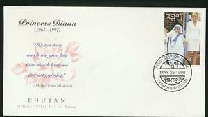 Mother Theresa and Princess Diana Honored on Bhutan 1998 First Day Cover #1171A