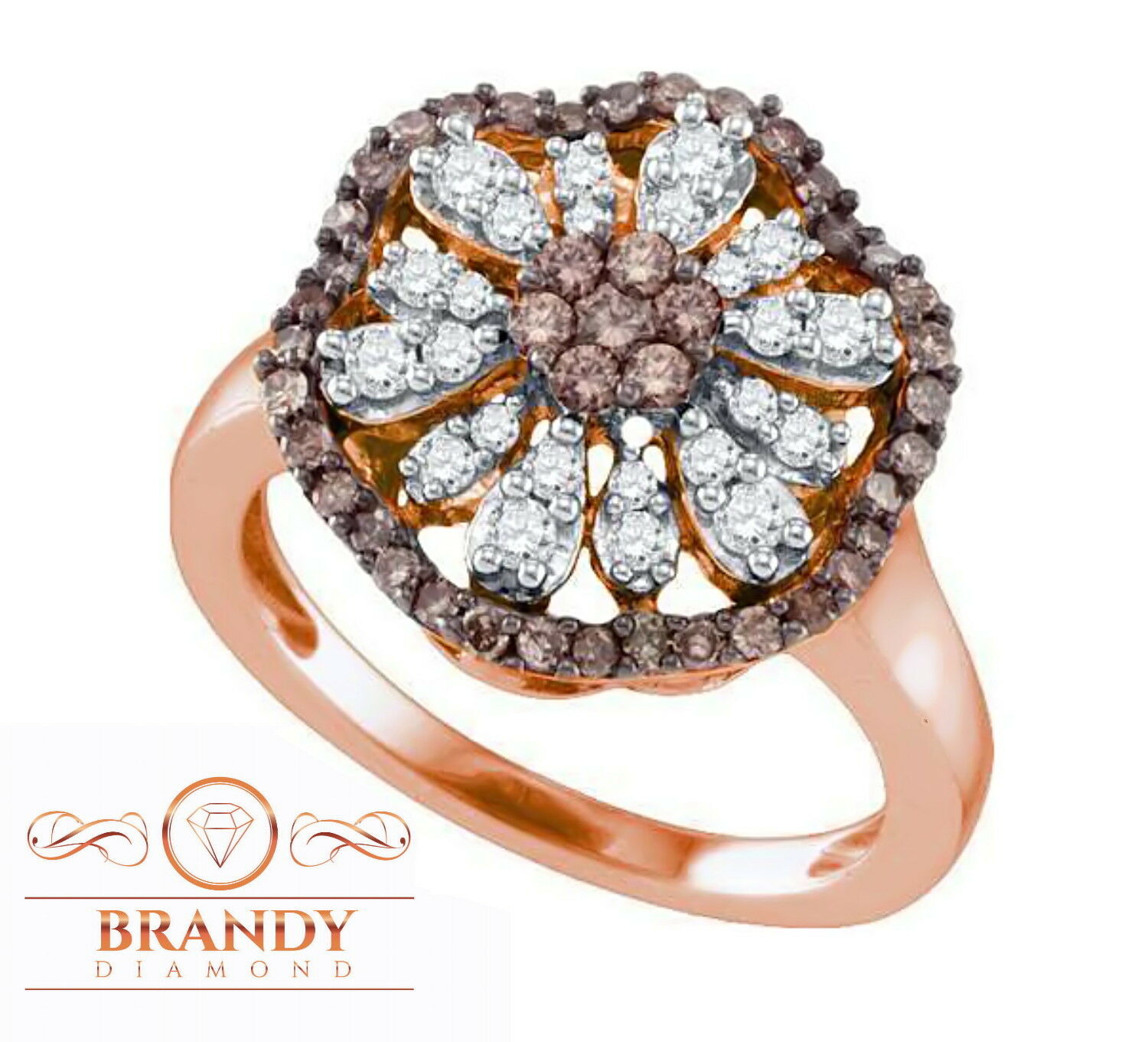 Brandy Diamond® Chocolate Brown 10K pink gold Flower Halo Design Ring .75Ct