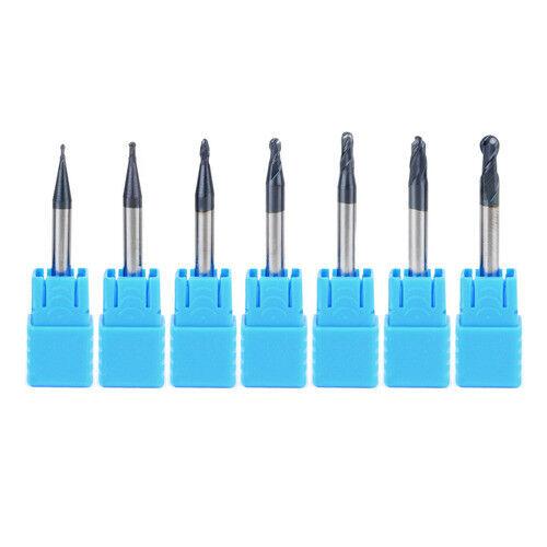7Pcs R0.5-2.0MM Router Bit Set 2 Flutes End Mill Ball Nose Engraving CNC Milling