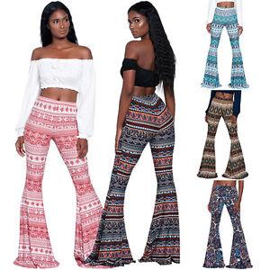 NEW-Women-High-Waist-Stretch-Boho-Bell-Bottoms-Flared-Long-Pants-Hippie-Trousers