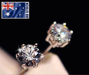 Genuine-925-Sterling-Silver-Crystal-Lab-Diamond-Cutting-Stud-Earrings-4mm-6mm