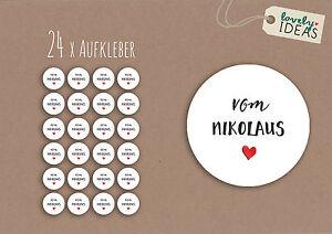 24-x-Geschenkaufkleber-034-vom-Nikolaus-034-40mm-weiss-Etiketten-Aufkleber-Sticker