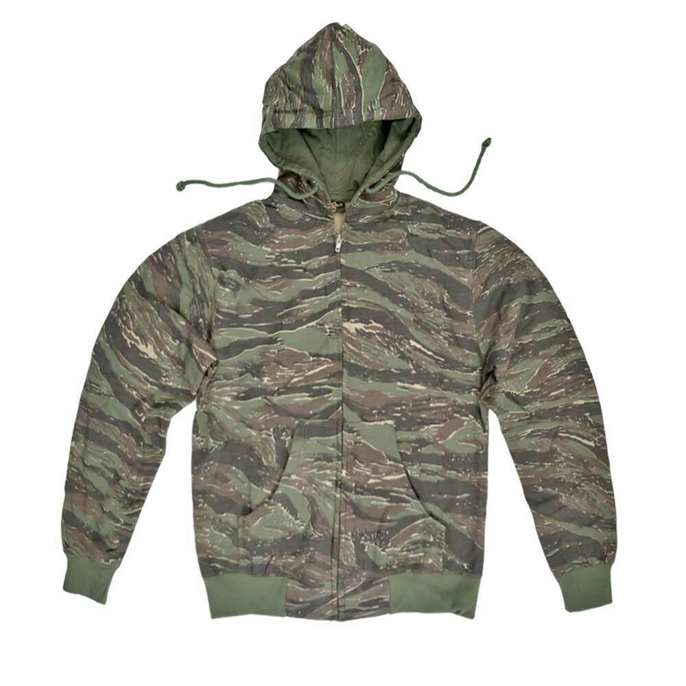 Hoodie Army Combat Military Style US Tiger Camo Hunting Fishing Work Hooded Top