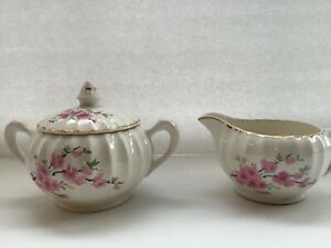 Vintage W.S. George Bolero Sugar and Creamer Peach Blossom 22 Kt. Trim