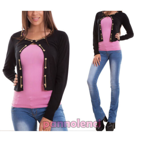 Cardigan donna maglione pullover bottone catene maniche lunghe nuovo JT6176
