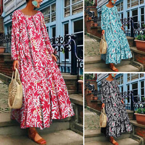 Plus-S-5XL-Women-039-s-Crew-Neck-Long-Maxi-Dress-Kaftan-Tops-Floral-Print-Full-Dress