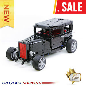 MOC-1093-1932-Hot-Rod-RC-Ford-Mustang-Miniature-Building-Blocks-Technical-Racing