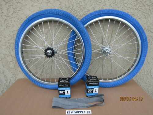 LINERS 2 2 20/'/' BICYCLE HEAVY DUTY  RIM SET, 2 TUBES, BLUE  TIRES,