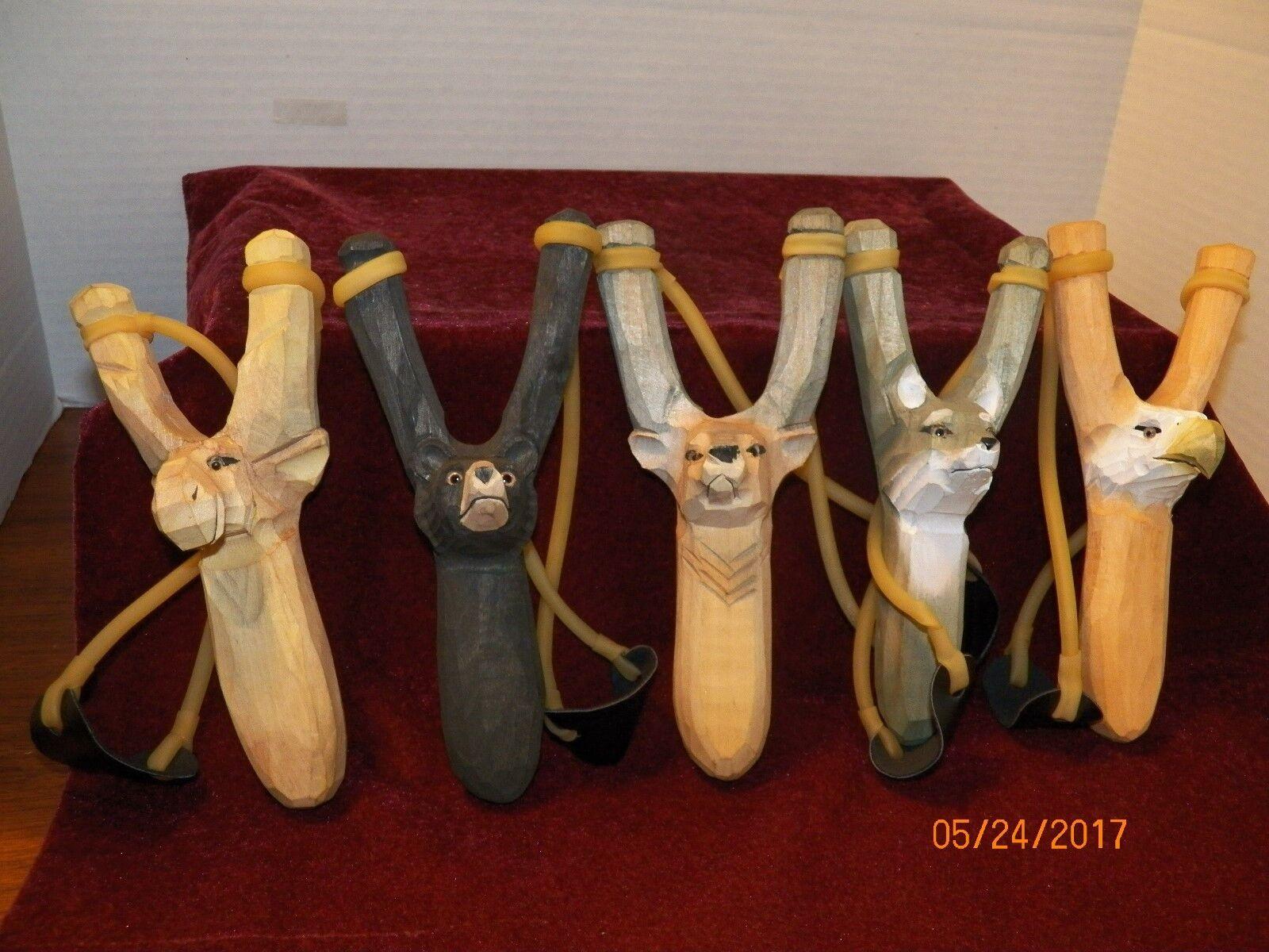 (5) New Wood Animal Design Slingshots  Bear, Moose, Deer,Wolf & Eagle