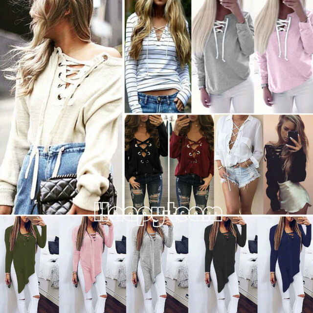 Womens V Neck Plunge Lace up Tie Tops Sweatshirt Jumper Shirt Long Sleeve Blouse