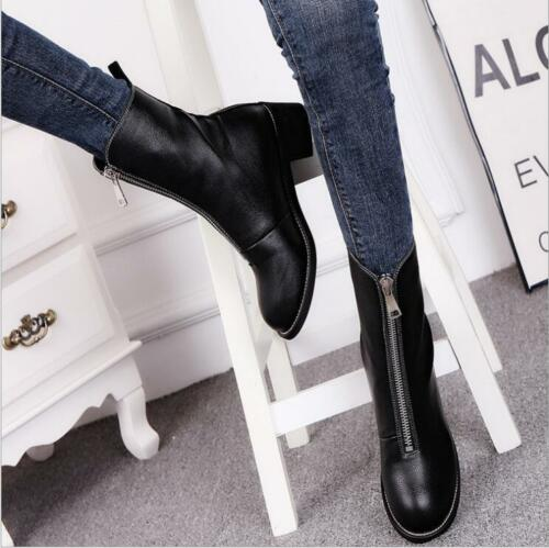 Women/'s Front Zipper Leather Riding Shoes  Black Flat Bottom High Boots
