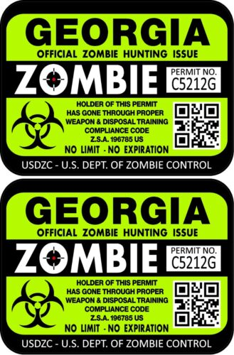 "ProSticker 1220 3/""x 4/"" Georgia Zombie Hunting License Decals Stickers Two"
