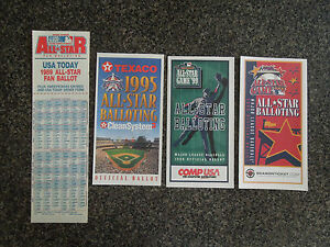 4 DIFF ALL STAR BASEBALL BALLOT * COMP USA BALLOTS * JOHNNY BENCH * NICE