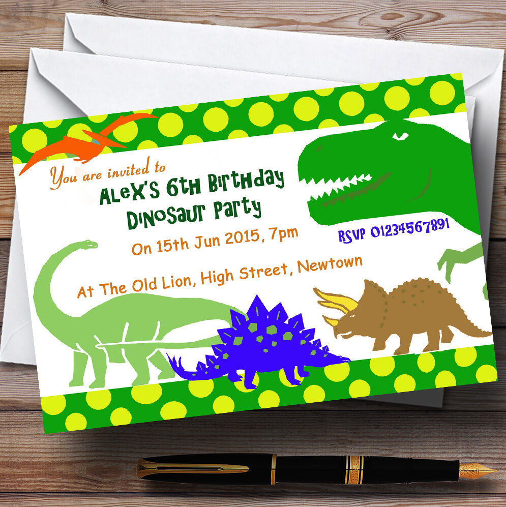 Scary Th82 Dinosaur Theme Personalised Birthday Party Invitations
