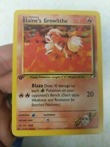 Blaine's Growlithe 1st Edition Non Holo Pokemon Card 62/132 - Near Mint
