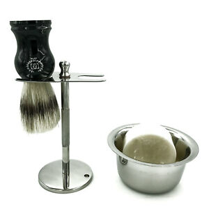 Shaving-Stand-for-Safety-Razor-and-Shaving-Brush-with-Mug-for-Cream-Stainless