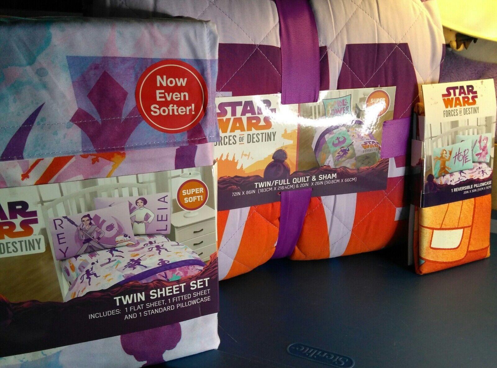 Star Wars Forces du destin Twin Sheet Set Couette Et Sham plus extra Taie d'oreiller
