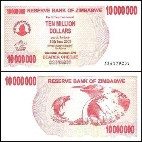 2008 Zimbabwe 10 Million Dollar Bearer Cheque Bank Note-UNC Condition-18-267