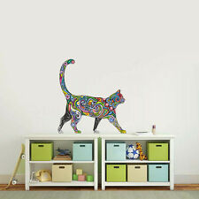 Painting 2 Walking Cat Wall Stickers Art Toilet Paste Car Mural Home Decoration