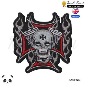Biker-Skull-Cross-Head-Embroidered-Iron-On-Sew-On-Patch-Badge-For-Clothes-etc