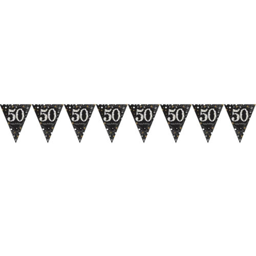 pick style HAPPY BIRTHDAY PARTY BANNER PRISMATIC CELEBRATION PENNENT BUNTING 4m