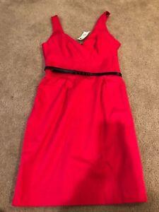NWT-Express-Design-Studio-Pink-Salmon-Fuchsia-Belted-Spring-Summer-Dress-Size-4