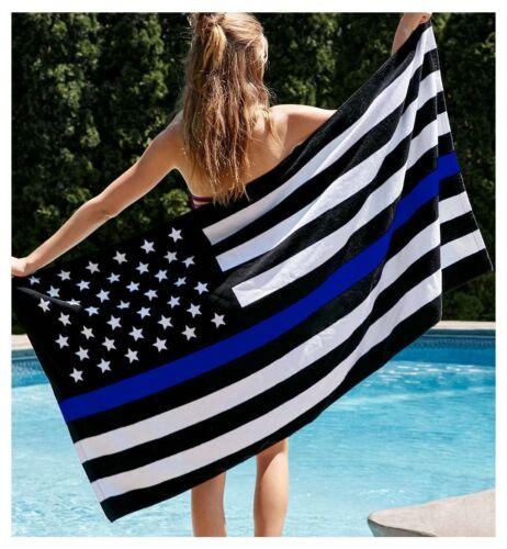 "THIN BLUE LINE FLAG BEACH TOWEL 30/"" x 60/"" Lot of 3"
