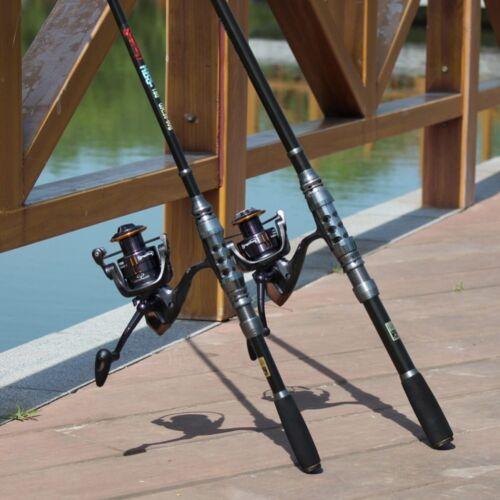 Cañas de pescar de carbono telescópica carpa Rod conjuntos y 14BB carrete Metal