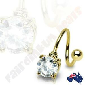 316L-Surgical-Steel-Gold-Ion-Plated-Twist-Bar-With-Clear-Round-Gem
