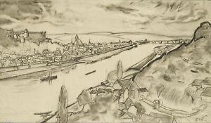 Carl WALTHER (1880-1956), Ansicht von Würzburg, Kohle